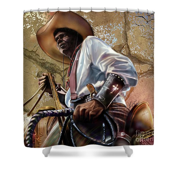 Tall In The Saddle Cowboy Pride 1a Shower Curtain