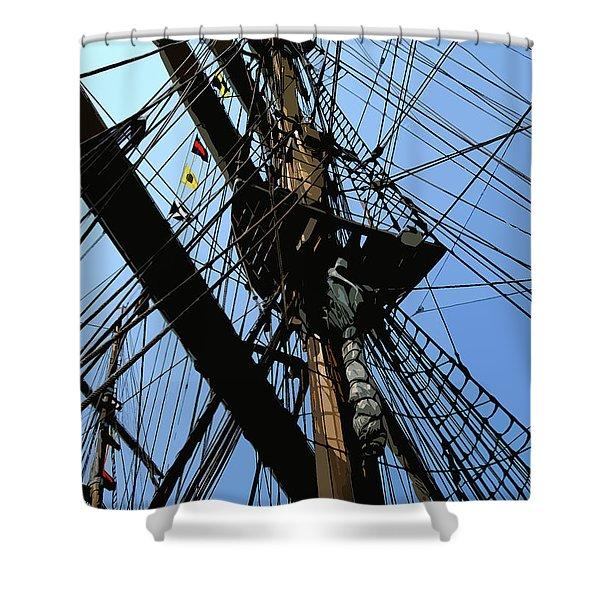 Tall Ship Design By John Foster Dyess Shower Curtain