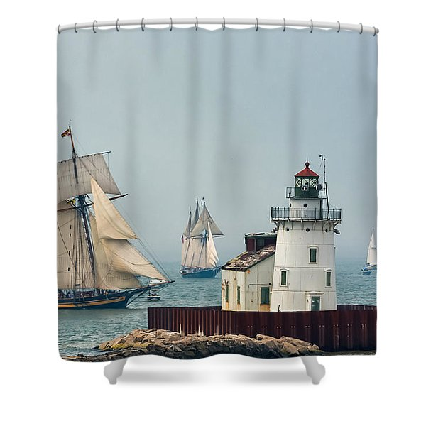 Tall Ships At Cleveland Lighthouse Shower Curtain