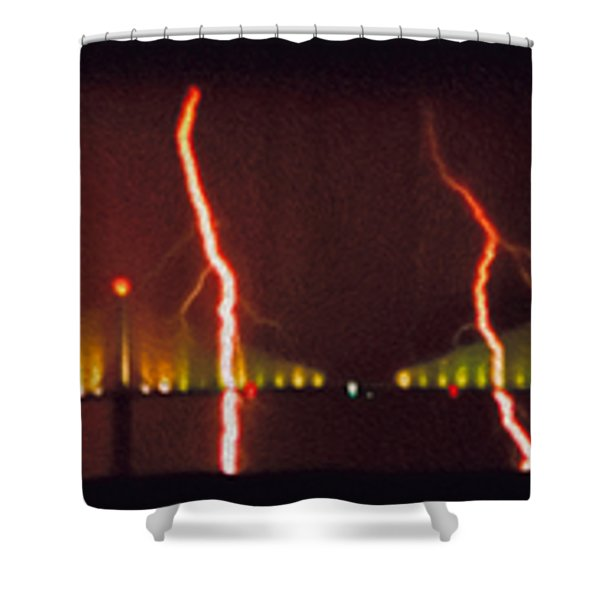 Tampa Bay Lightning Over The Skyway Bridge Shower Curtain