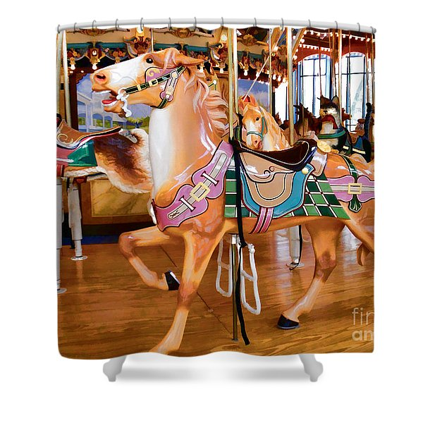 Tan Carousel Horse With Rabbit Shower Curtain