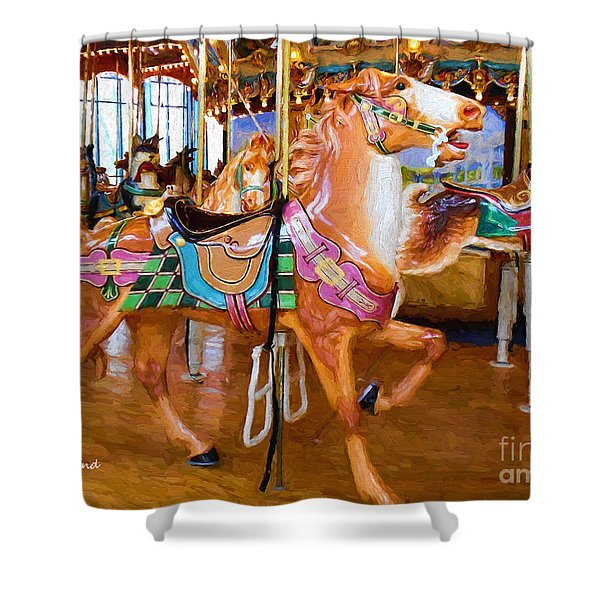 Tan Carousel Horse Impasto Painting Shower Curtain