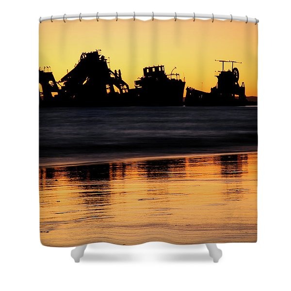 Tangalooma Wrecks Sunset Silhouette Shower Curtain