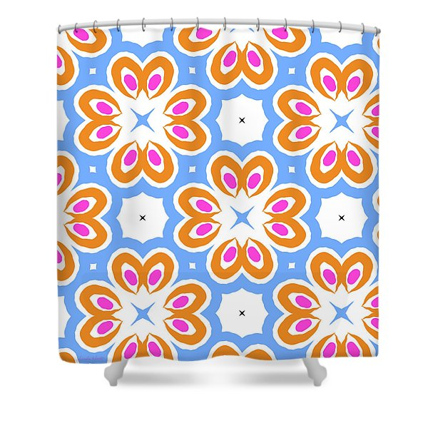 Tangerine And Sky Floral Pattern- Art By Linda Woods Shower Curtain