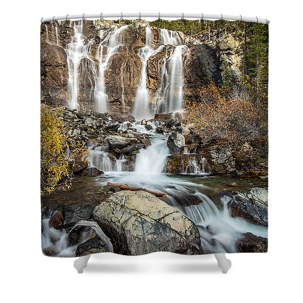 Tangle Waterfall On The Icefield Parkway Shower Curtain