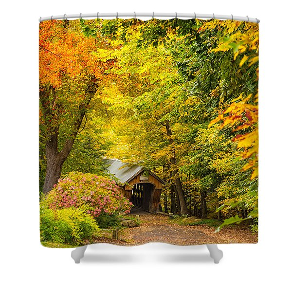 Tannery Hill Covered Bridge Shower Curtain