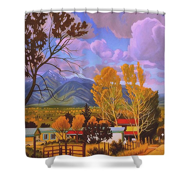 Taos Red Roofs Shower Curtain