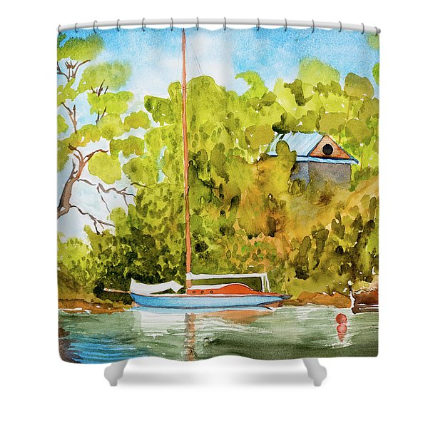 Tasmanian Yacht 'weene' 105 Year Old A1 Design Shower Curtain