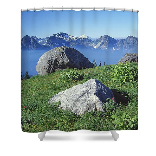 1m4862-tatoosh Range And Mt. St. Helens  Shower Curtain