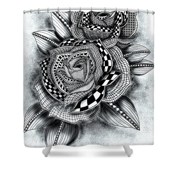Tattoo Rose Greyscale Shower Curtain