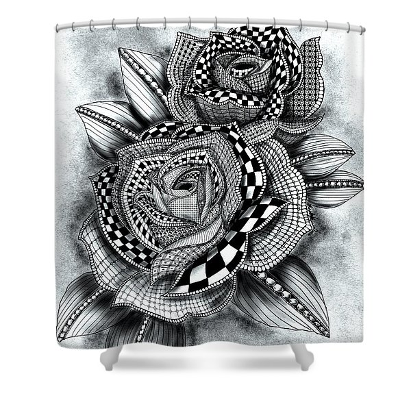 Tattoo Rose Greyscale Shower Curtain