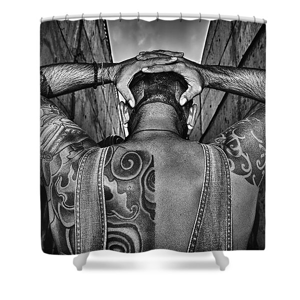 Tattoo Shower Curtain by Stylianos Kleanthous
