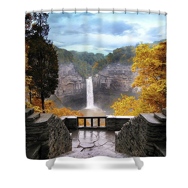 Taughannock In Autumn Shower Curtain