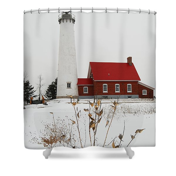 Tawas Point Lighthouse Shower Curtain by Michael Peychich