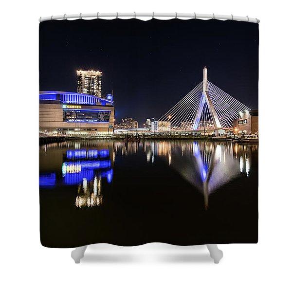 Td Garden And The Zakim Bridge At Night Shower Curtain