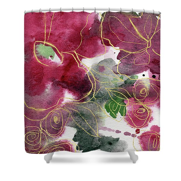 Tea Cup Roses- Art By Linda Woods Shower Curtain