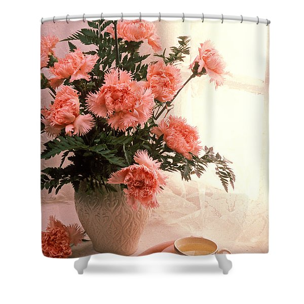 Tea Cup With Pink Carnations Shower Curtain