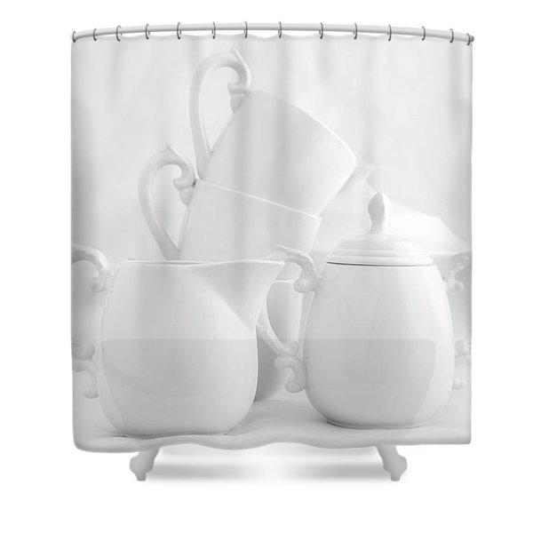 Tea For Three In White Shower Curtain