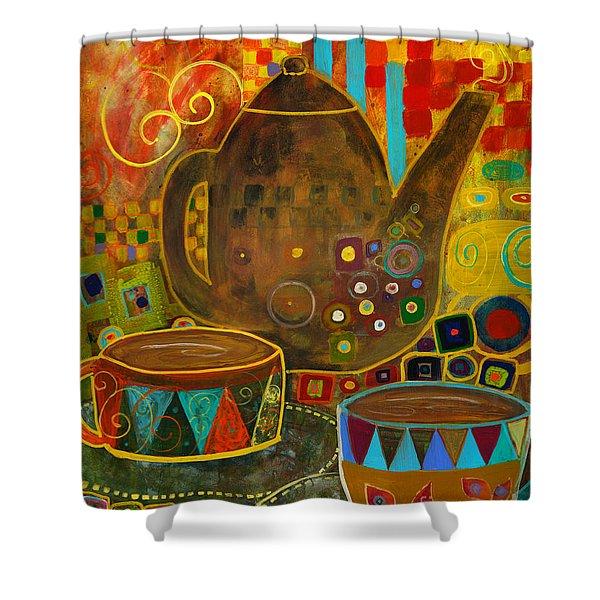 Tea Party With Klimt Shower Curtain