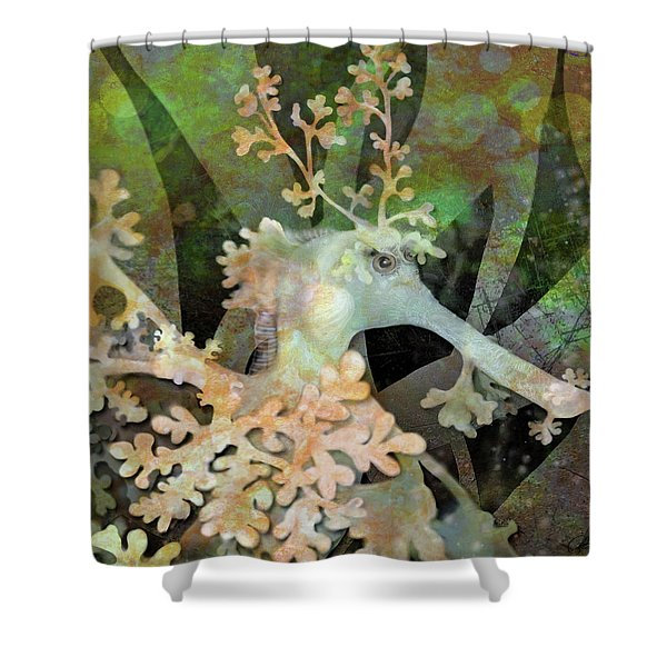 Teal Leafy Sea Dragon Shower Curtain