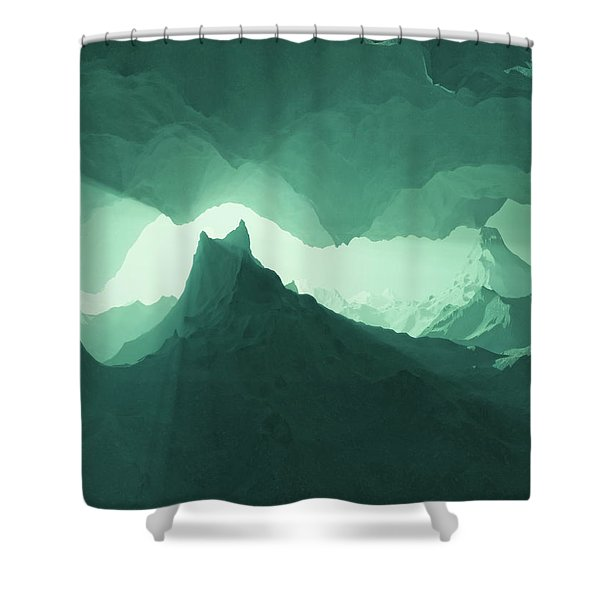 Teal Surreal Shower Curtain