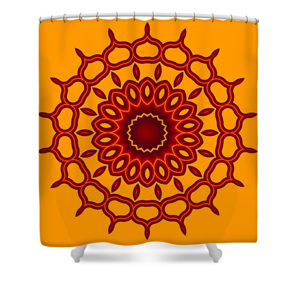 Teardrop Fractal Mandala Shower Curtain