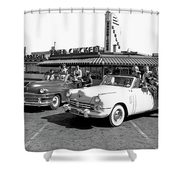 Teens At A Drive In 2 Shower Curtain