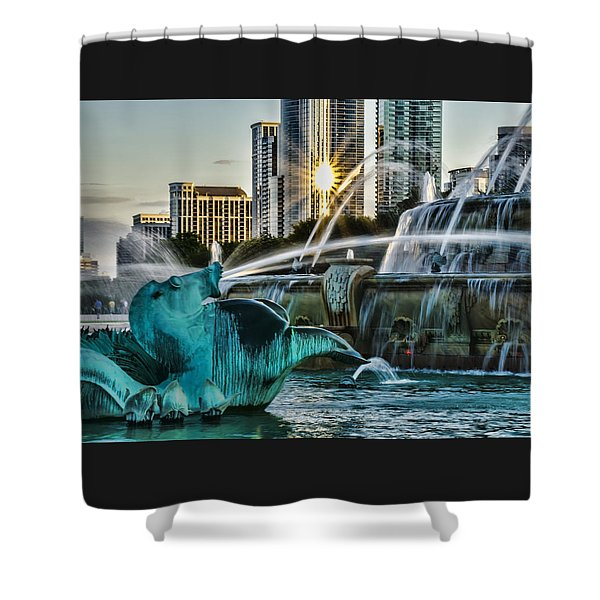 telephoto look at Chicago's Buckingham Fountain  Shower Curtain