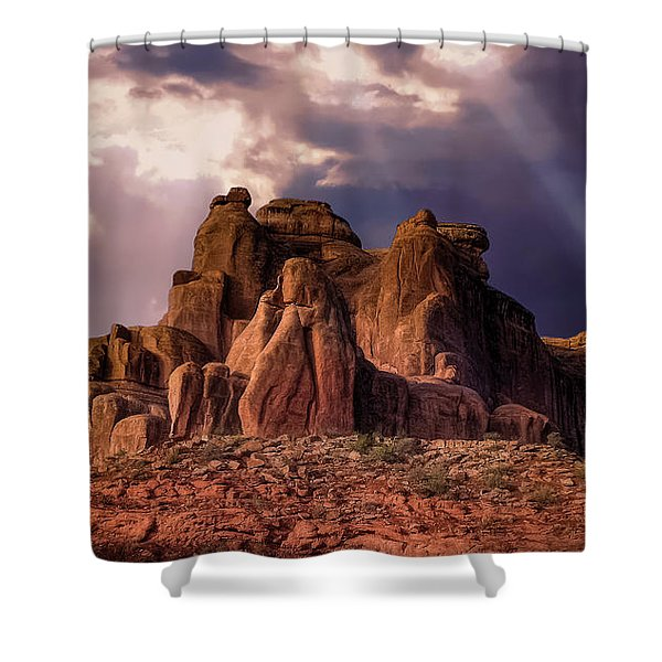 Temple Of Red Stone Shower Curtain