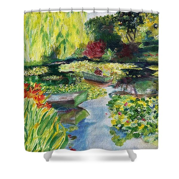 Tending The Pond Shower Curtain