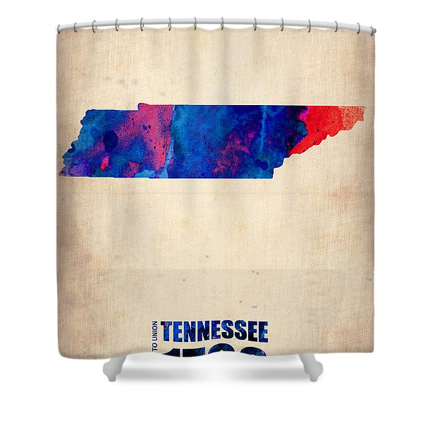 Tennessee Watercolor Map Shower Curtain