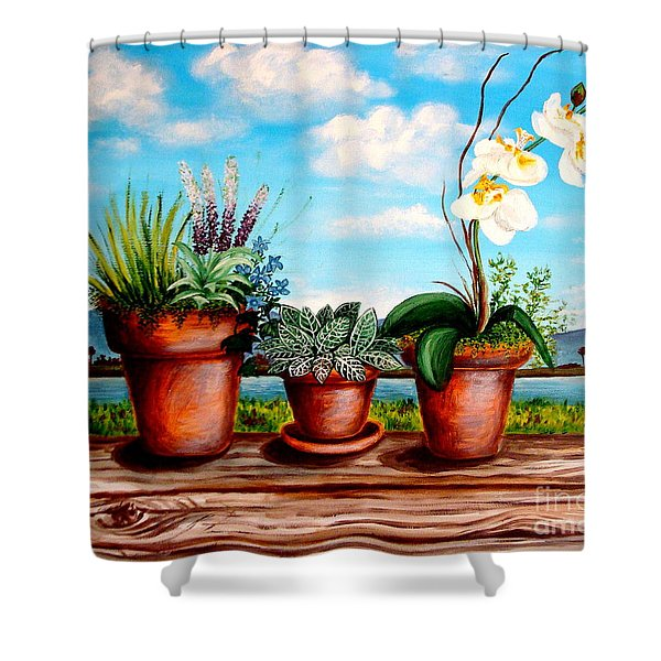 Terra Cotta Blues Shower Curtain