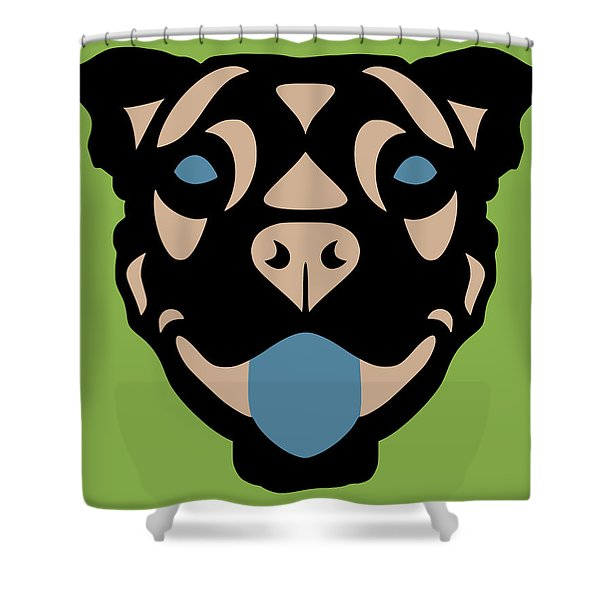 Terrier Terry - Dog Design - Greenery, Hazelnut, Niagara Blue Shower Curtain