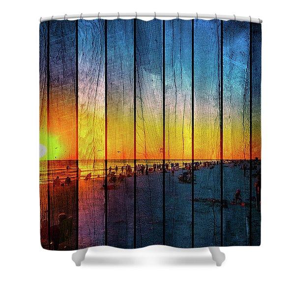 Siesta Key Drum Circle Sunset - Wood Plank Look Shower Curtain