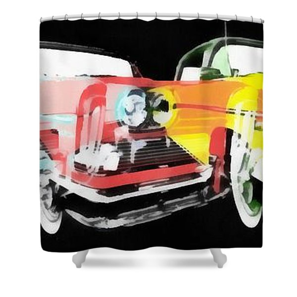 Edsel Triple Threat Pop Art Shower Curtain