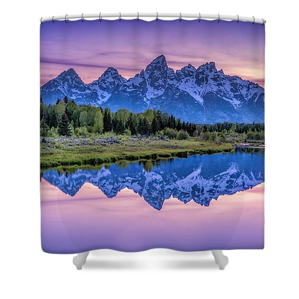 Sunset Teton Reflection Shower Curtain