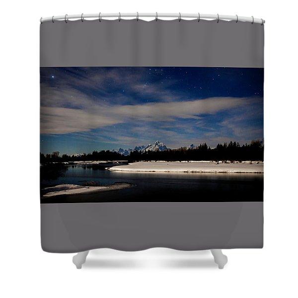 Tetons At Moonlight Shower Curtain