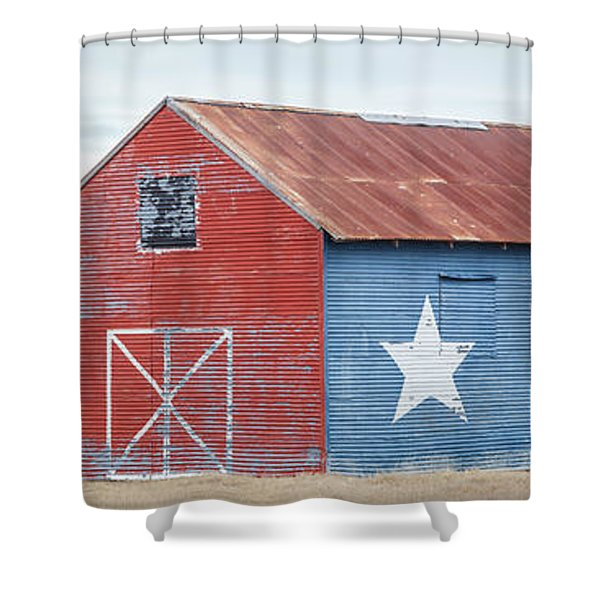 Texas Barn With Goats And Ram On The Side Shower Curtain