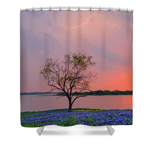 Texas Bluebonnets And Lightning Shower Curtain
