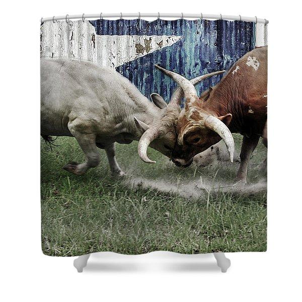 Texas Bull Fight  Shower Curtain