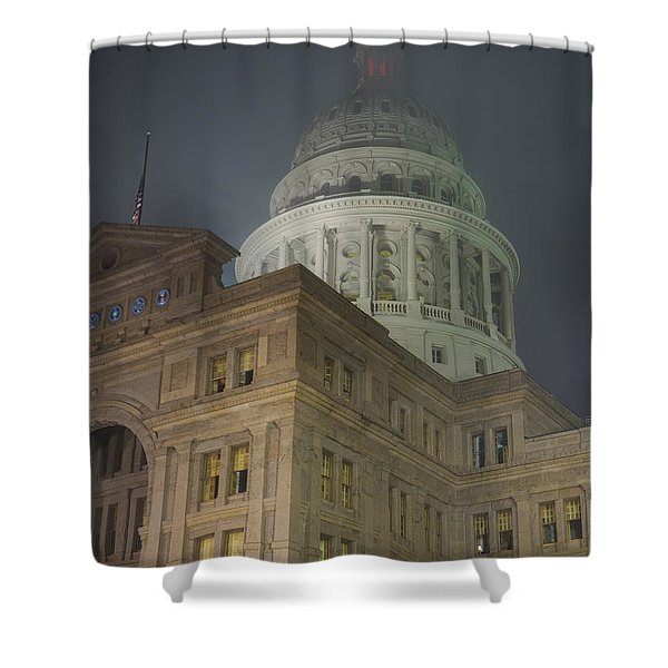 Texas Capitol In Fog Shower Curtain