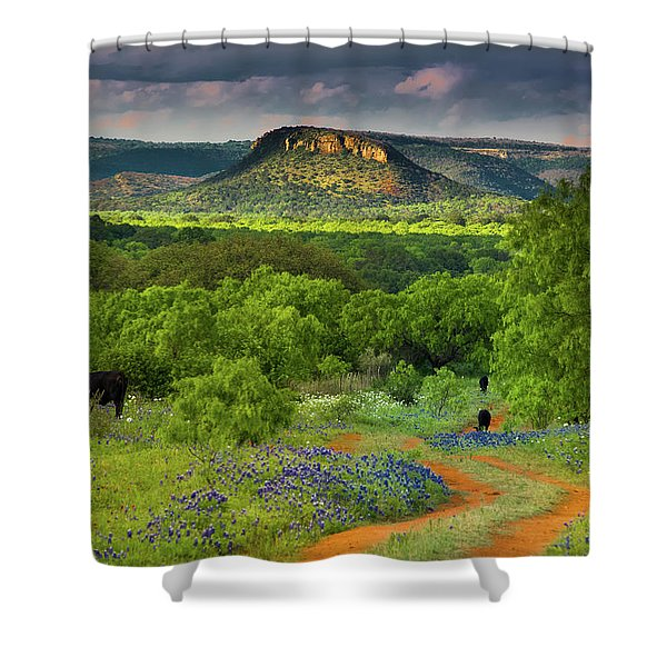 Texas Hill Country Ranch Road Shower Curtain