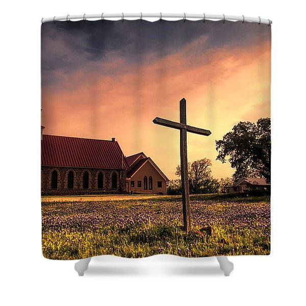 Texas Hill Country Sunset Shower Curtain