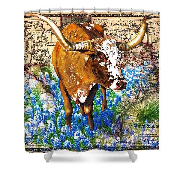 Texas Longhorn In Bluebonnets Shower Curtain
