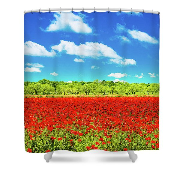 Texas Red Poppies Shower Curtain