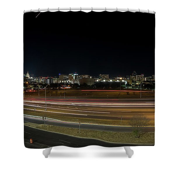 Texas University Tower And Downtown Austin Skyline From Ih35 Shower Curtain