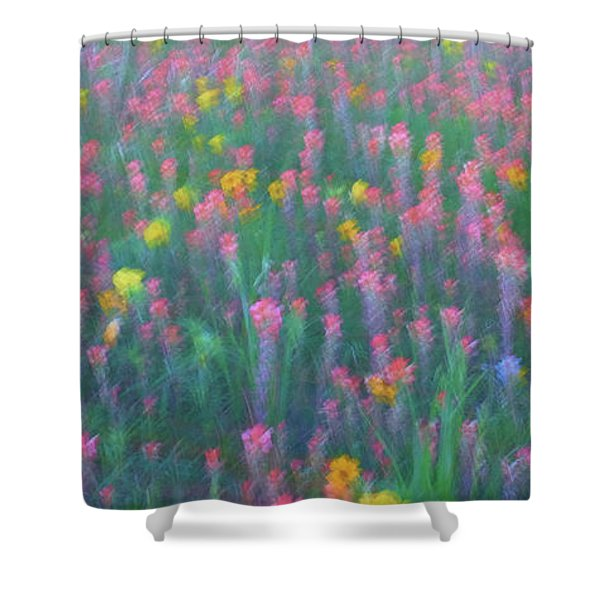 Texas Wildflowers Abstract Shower Curtain
