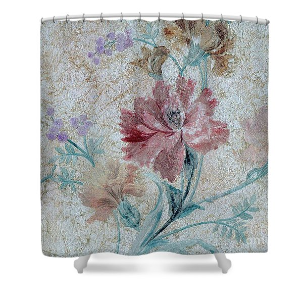Shower Curtain featuring the mixed media Textured Florals No.1 by Writermore Arts