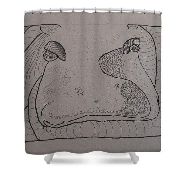 Textured Hippo Shower Curtain