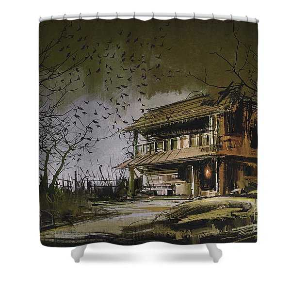 Shower Curtain featuring the painting The Abandoned House by Tithi Luadthong